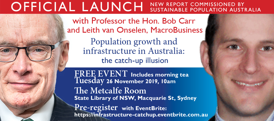 Official Launch: Population growth and infrastructure in Australia - The catch up illusion